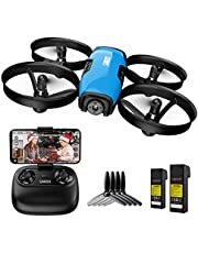 $59 » SANROCK U61W Drone with Camera for Kids Adults Beginner 720P HD & 2 Batteries, Mini Drone Toy Gift for Boy Girl WiFi FPV RC Quadcopter, Route Making, Headless Mode, Altitude Hold, Emergency Stop