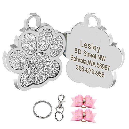 Didog Glitter Paw Print Pet ID Tags for Small Dogs and Cats,Personalized Egraving -