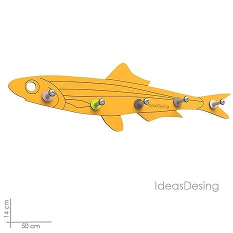 IdeasDesing Perchero de Pared - Modelo Boquerón - 50 cm - Color Naranja