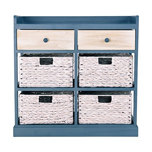 Side Table Storage Cabinet w/2 Wood Drawers and 4 Baskets CHOOSEandBUY