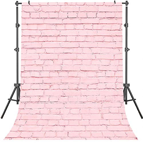 Pink Brick - Mehofoto Pink Brick Wall Background Birthday Party Background 5x7ft Vinyl Studio Photography Background Wedding Party Banner Decoration