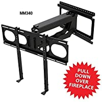 MantelMount MM340 Pull Down Fireplace TV Mount For 44-80 TVs Above Mantel
