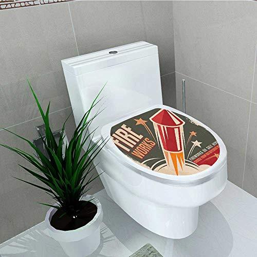 Printsonne Toilet Seat Sticker Fireworks in Vintage Paper Stars Rockets Western Halloween Waterproof Decorative Toilet Cover Stickers W14 x L14 -
