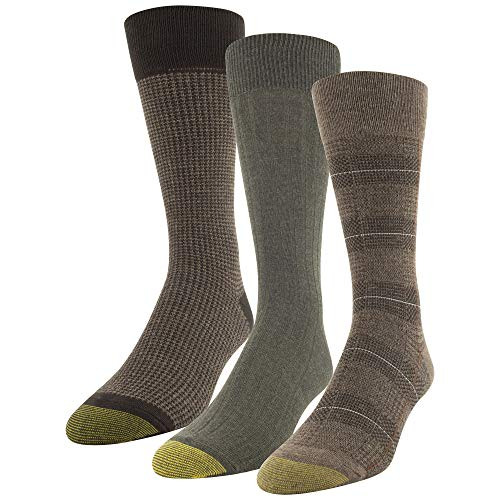 Gold Toe Men's Glen Plaid and Houndstooth Crew Socks, 3 Pairs, Brown Heather, Olive, Dress (Gold Toe Rayon)