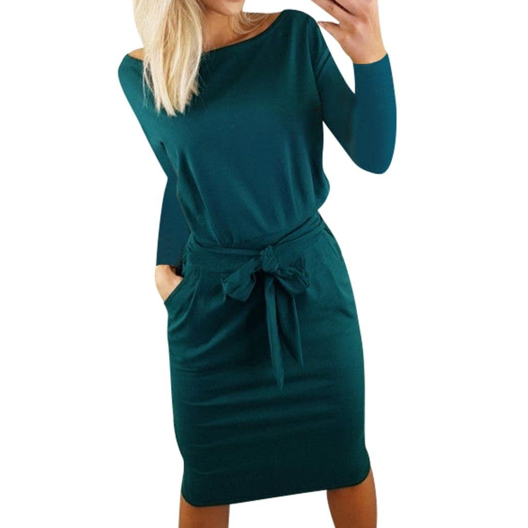 Summer Ladies Long Sleeve Pocket Evening Party Dress Hunzed Women Casual Mini Dress