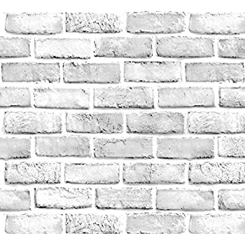 Nuwallpaper Nu3010 Grey And White Brick Peel Stick
