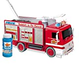 Minmi Blowing Bubbles Fire Engine Rescue Truck with Ladder and Lights & Sirens - Battery Operated Bump and Go Action