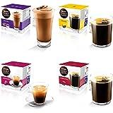 Nescafe Dolce Gusto Lot de 4packs de capsules de café noir de variétés différentes 64capsules