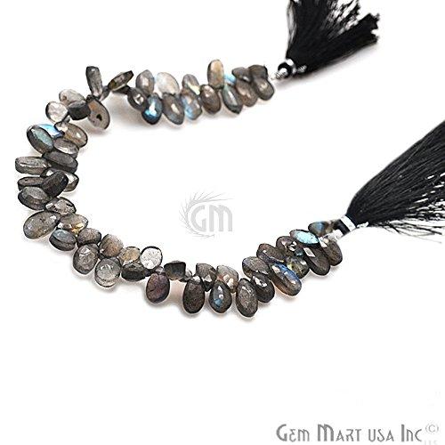 - 1 Strand Labradorite Briolette Beads, 12x7mm Blue Flash Faceted Gemstone Teardrop Beads 9