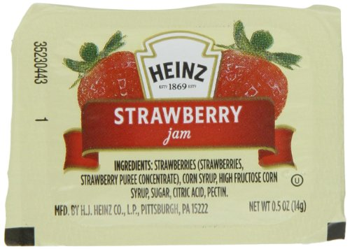 Heinz Jam Strawberry, 0.5-Ounce Squeeze Pouches (Pack of (Heinz Jam)