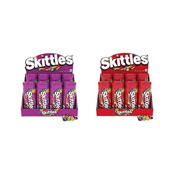 Skittles Bite-Size Fruit Candies Pouch, Wild Berry- 33.5g (Pack of 8) & Skittles Bite-Size Fruit Candies Pouch, Original