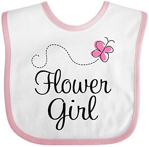 Inktastic - Flower Girl Wedding Butterfly Baby Bib White/Pink c51b