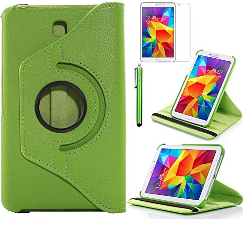 Tab 4 7.0 Case, AiSMei Rotating Case For Samsung Galaxy Tab 4 7.0 SM-T230,SM-T231, SM-T230NU Tablet PC,7-Inch PU Leather Case [Bonus Stylus+Screen Protector] -Green (Tab Green Case 4 Galaxy)