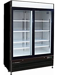 Chefs Exclusive CE328 Commercial 2 Double Sliding Glass Door Refrigerated Merchandiser Cooler Showcase LED Lights 48 Cubic Feet 8 Adjustable Shelves Digital Controller Locks, 54 Inch Wide, Black