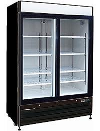Chefs Exclusive CE328 Commercial 2 Double Sliding Glass Door Refrigerated Merchandiser Cooler Showcase LED Lights 48 Cubic Feet 8 Adjustable Shelves Digital Controller Locks, 54 Inch Wide, Black