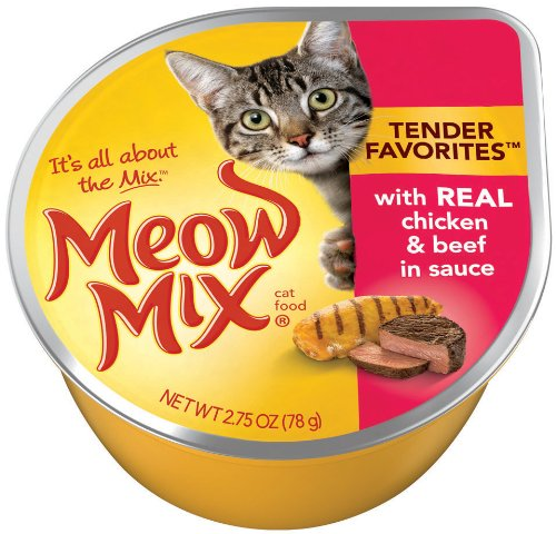 Meow Mix Tender Favorites with Real Chicken and Beef in Sauce, 2.75-Ounce Cups (Pack of 24), My Pet Supplies