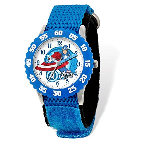 Marvel+Watches Products : Marvel Avengers Captn America Blue Velcro Time Teacher Watch