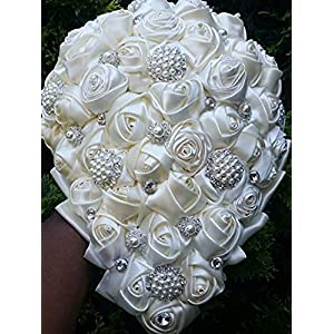 Made to order Brooch Bouquet Wedding Bridal Flowers Satin Roses Bride Bridesmaids BCUST-BRINA 9
