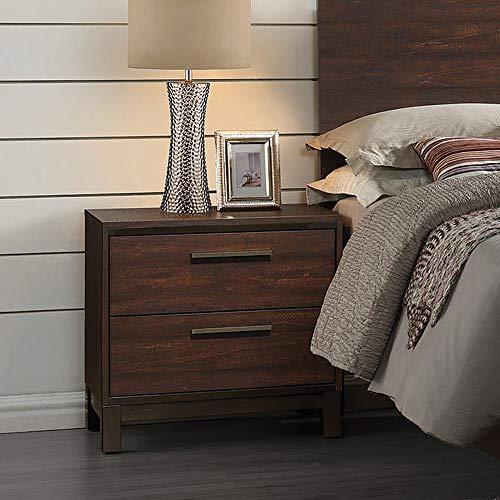 Edmonton 2-drawer Nightstand Rustic Tobacco and Dark Bronze (Edmonton Clearance Furniture)