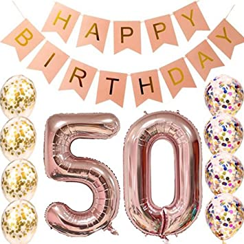 50th Birthday Decorations Party Supplies Balloons Rose Gold50th Banner