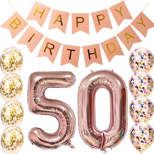 50th Birthday Decorations Party supplies-50th Birthday Balloons Rose Gold,50th Birthday Banner,50th Birthday Gifts for Women,use Them as Props for Photos (Rose Gold 50)