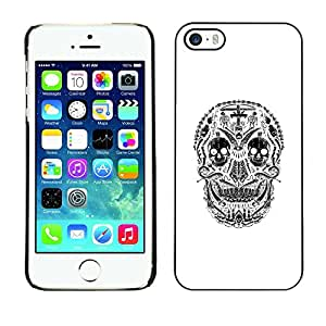 PC/Aluminum Funda Carcasa protectora para Apple Iphone 5 / 5S White Black Skull Cross Christian Death / JUSTGO PHONE PROTECTOR
