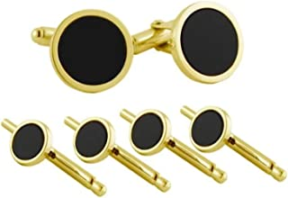 product image for David Donahue Men's Gold Trim Black Onyx Cuff Links Stud Set (SS801509)