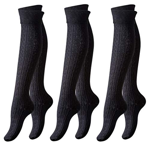 (Vincent Creation 3 Pairs of Women's Knee High Cotton Boot Socks Cable Patterned (Black))