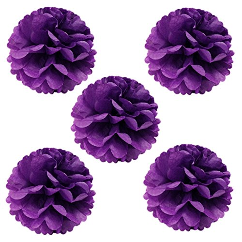 """Wrapables 8"""" Set of 5 Tissue Pom Poms Party Decorations for Weddings, Birthday Parties Baby Showers and Nursery Décor, Purple"""
