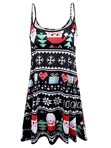 Plus Size Women's Casual Spaghetti Loose Swing Slip Dress (Christmas - Black Santa,1X) -