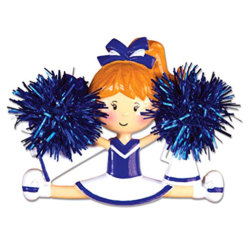 (Personalized Cheerleader Christmas Tree Ornament 2019 - Girl Real Pompom Split Competition Cheer Team Dancer High School Loud Proud Holiday Brunette Blonde Gift Year - Free Customization)