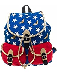 DC Comics WONDER WOMAN W/ Stars Logo Print Knapsack Backpack