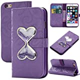 iphone 7 Plus Wallet Case for Women,iphone 7 Plus Purse Case,Auker Flip Leather Cover with Glitter Hourglass Sand Timer Vintage Book Folio Flop Kickstand Wallet Card Holder Case for iphone 7+ (Purple)