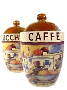 2 italian vintage tuscan kitchen canister set