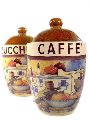 Amazon.com: 2 Italian Vintage Tuscan Kitchen Canister Set ...