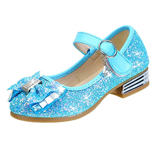 DOREI Toddler/Little Kids Girls Elsa Shoes Blue Glitter Rhinestone Ballet Flats Mary Jane Princess Party Dress Shoes (Glitter Shoes Toddler Girl)