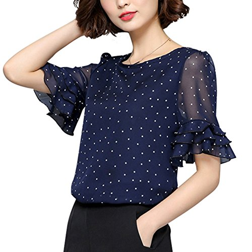 Polka Dot Chiffon Blouse - CHICFOR Women Blouse Polka Dot Chiffon Ruffle Short Sleeve Shirts Tops (XXXL, Navy Blue)