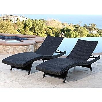 Abbyson Living Redondo Chaise Lounge, Black Set of 2