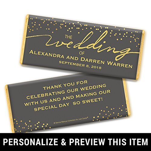 Wedding Favors Personalized Chocolate Bar Wrappers - Gold Foil (25 Count)
