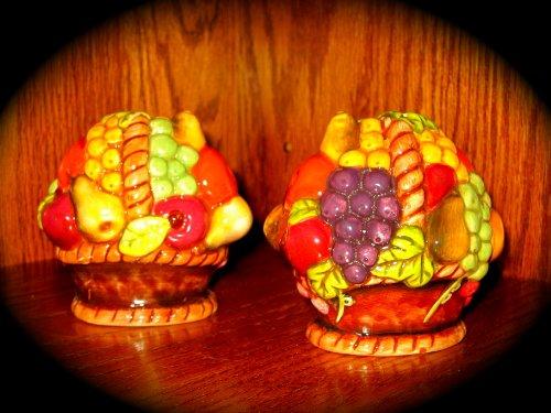 Vintage Ceramic Fruit Basket Salt and Pepper Shakers