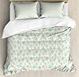 Egg Shell Foam Bedding Lunarable Tree Duvet Cover Set King Size, Evergreen Trees and Bare Trunks Pattern with Stained-Look Effect, Decorative 3 Piece Bedding Set with 2 Pillow Shams, Seafoam Pale Brown Eggshell