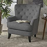 Annelia | Button-Tufted Fabric Club Chair | in Charcoal
