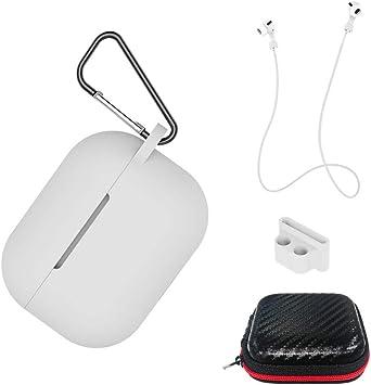 AICEK Funda Compatible para AirPods Pro Silicona Carcasa para Apple AirPods Pro Protective Case Cover Accesorios con Cuerda Anti-pérdida,Mosquetón, Estuche, Blanco: Amazon.es: Electrónica