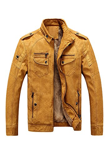 XINISI Vintage Mens PU Leather Insulated and thicken Jacket Down Coat for Winter Yellow