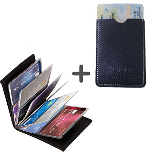 Jessica Leather Wallet (Wonder Wallet - Amazing Slim RFID RFID Wallet AS Seen On TV + Free Gift Real Leather Card)