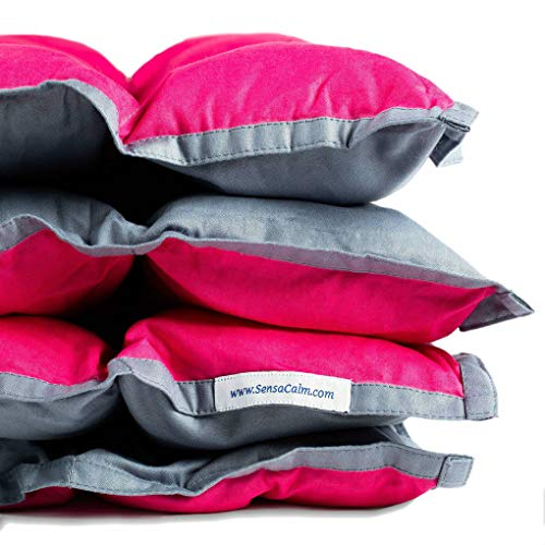 Cheap SensaCalm Medium Weighted Blanket Pink Raspberry and Volcanic Gray 12 lbs (for 100 lb Child) Black Friday & Cyber Monday 2019