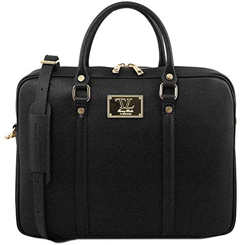 Tuscany Leather TL141626 - Bolso al hombro de Cuero para mujer Negro Negro compact
