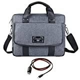 "Vangoddy Chrono Grey Messenger Tote Bag for Asus Chromebook | Transformer Book Series 11.6"" 12.5"" 12.6"" Tablet Laptop + Sync and Charge Cable"