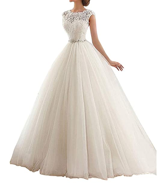Lovelybride Cap Sleeve Bateau Neckline Lace Ball Gown Wedding Dress ...