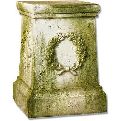 "OrlandiStatuary FS35012 Wreath Pedestal Sculpture, 18"", White Moss Finish"